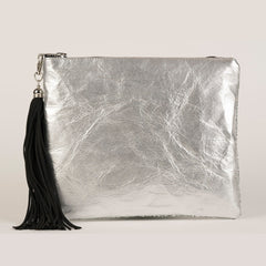 SPARKLE METALLIC CLUTCH - SILVER