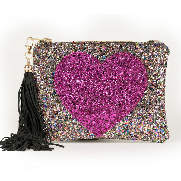 PERSONALISED SPARKLE HEART CLUTCH