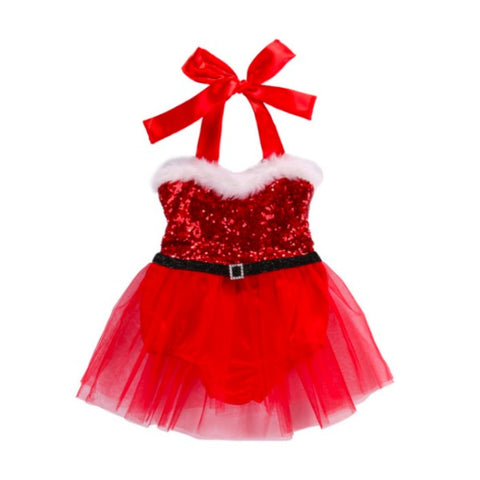 Santa's Little TuTu Lace Dress