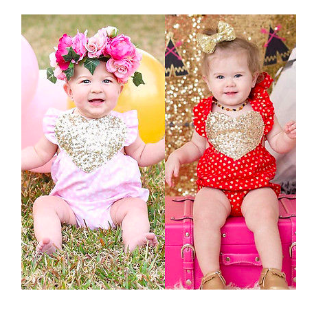 Peyton Golden Heart Romper