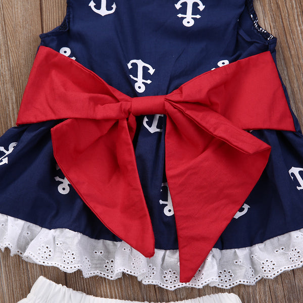 Red Anchor Ruffles  Romper Set