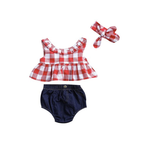 Plaid Denim Set