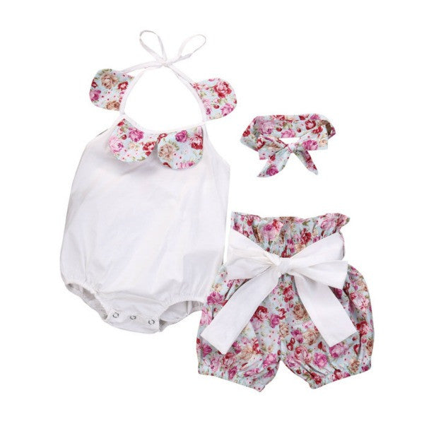 Floral Romper + Bow Shorts Set