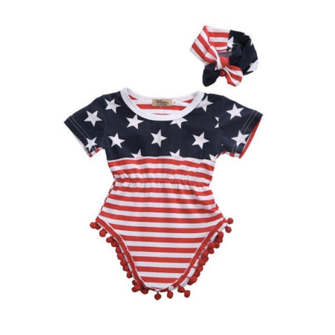 American Flag Romper Set