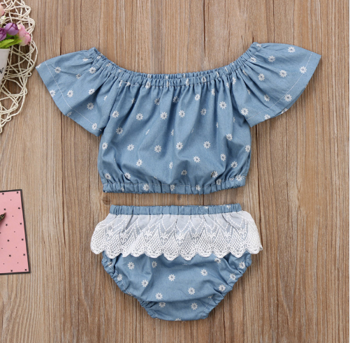 Floral Lace Denim Set