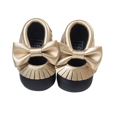 Black/Gold Bow Tie Mocassins