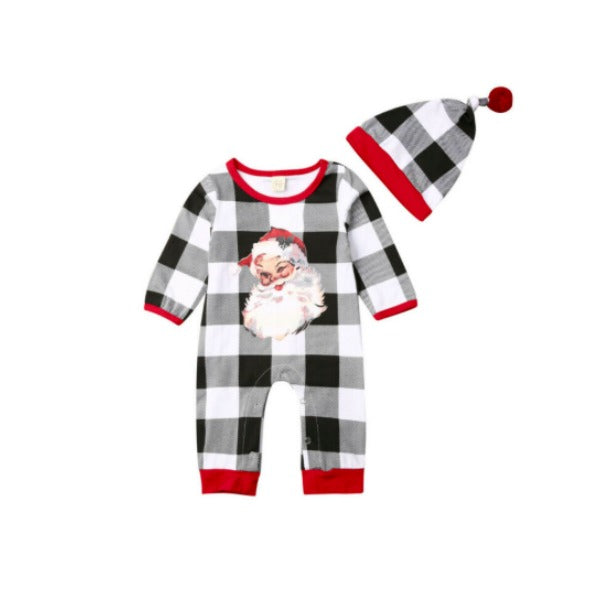 Buffalo Plaid Santa Romper
