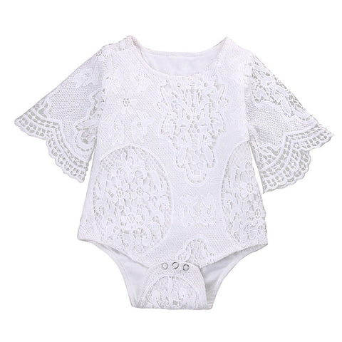 White Lace Floral Bodysuit