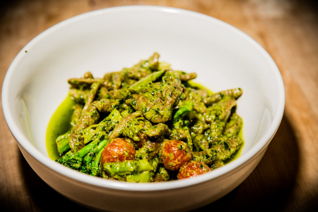 ReGrained Ricotta Cavatelli with Carrot Top Pesto