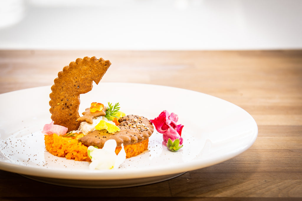 "Carrot Tartare with ReGrained ""Everything"" Cracker"