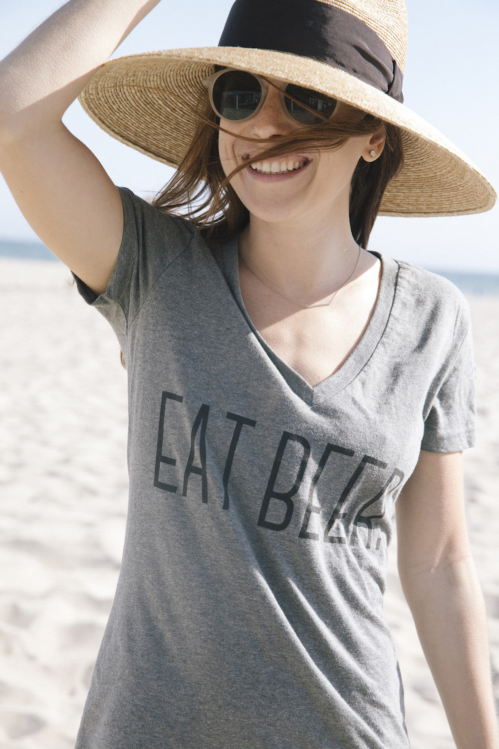 """Eat Beer"" Women's V-Neck"