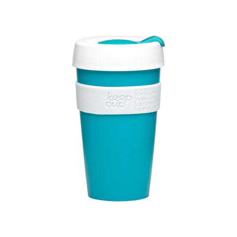 Tall KeepCup Classic turquoise and white - 16 oz