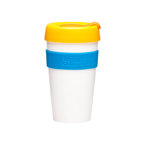 Tall KeepCup Classic white, blue and yellow - 16 oz
