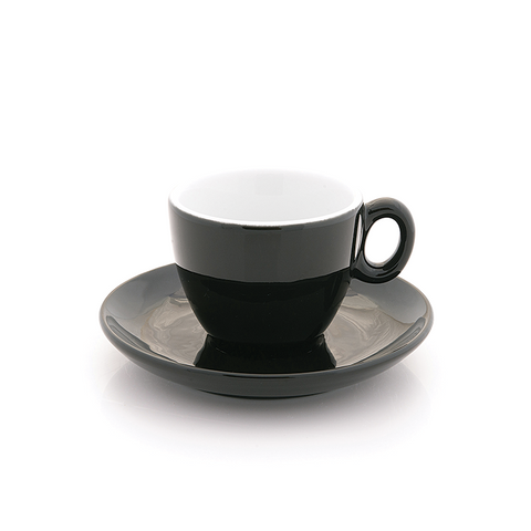Black espresso cup 2.5 oz Inker with saucer in demitasse shape