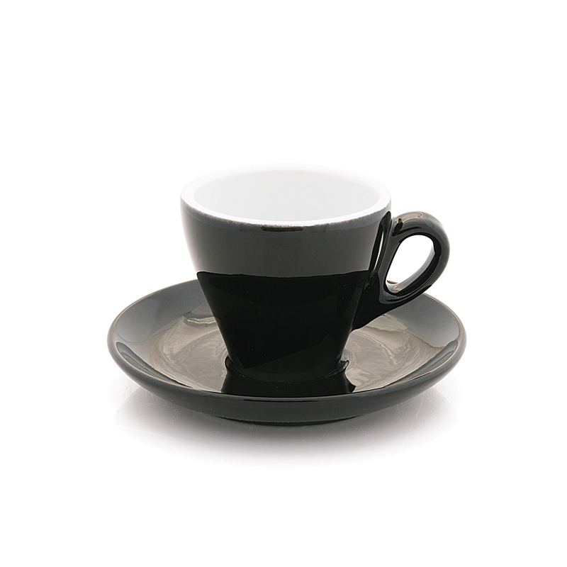 Black espresso cup 2.8 oz Inker with saucer in tulip shape