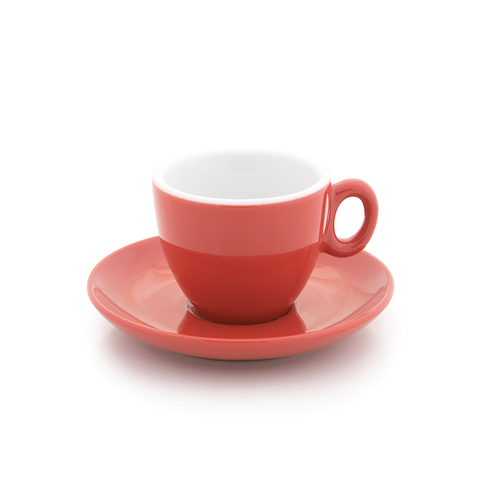 Red espresso cup 2.5 oz Inker with saucer in demitasse shape