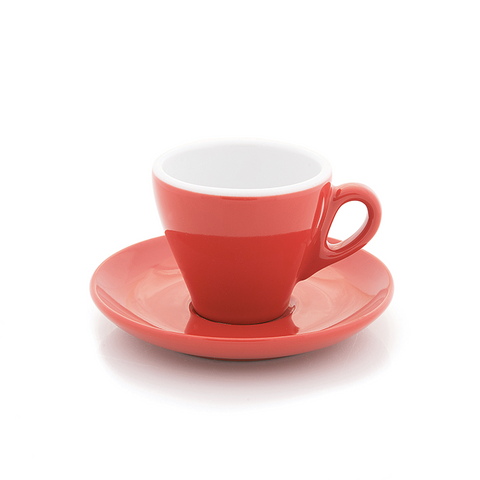 Red espresso cup 2.8 oz Inker with saucer in tulip shape