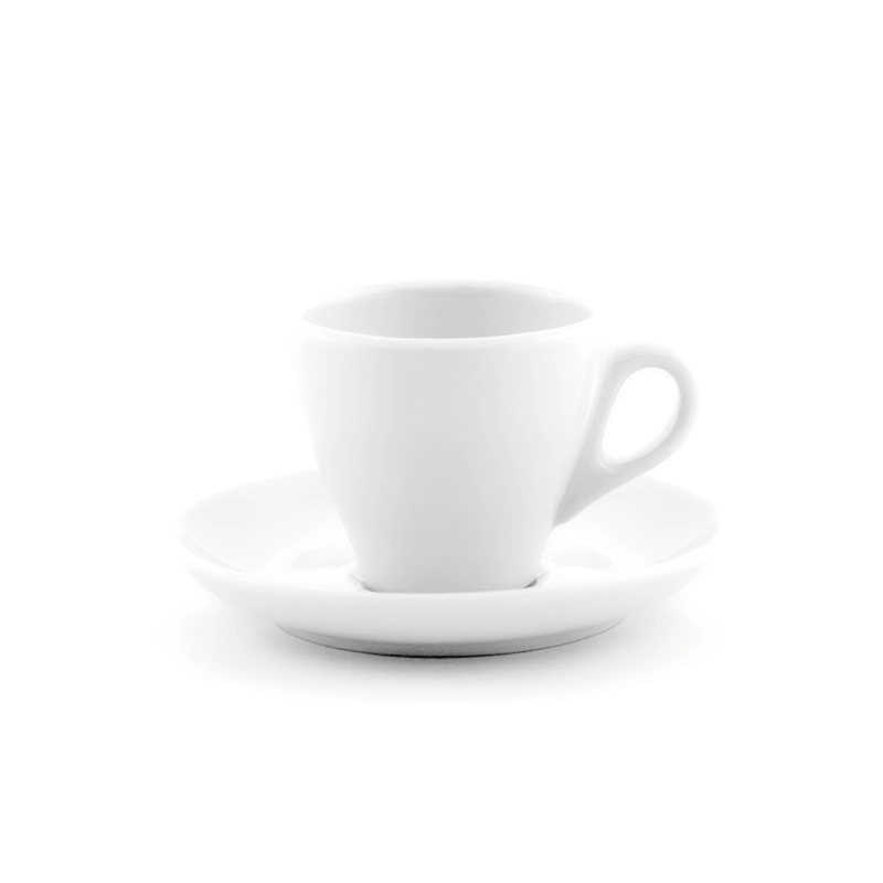 White espresso cup 2.8 oz Inker with saucer in tulip shape