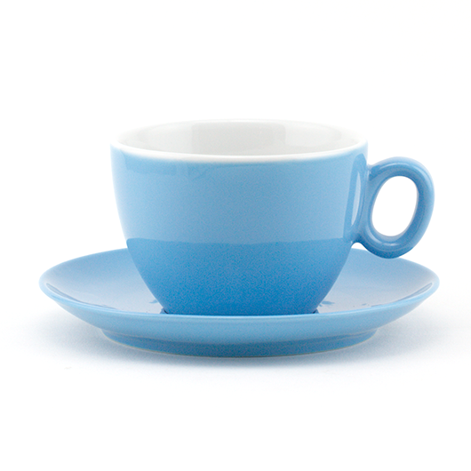 Latte cup 12 oz blue demitasse shape