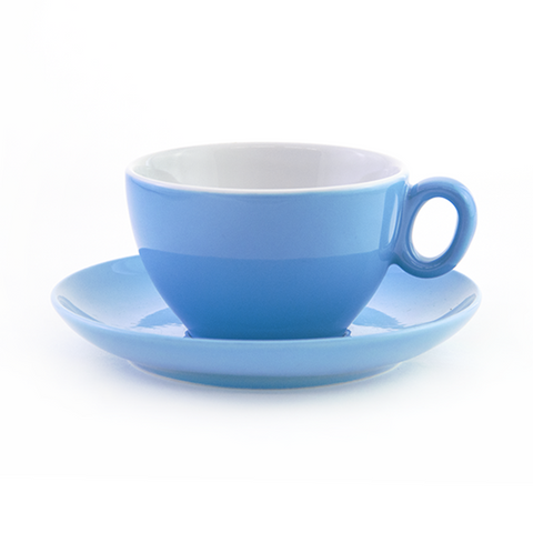 Blue latte cup 8.8 oz Inker with saucer in demitasse shape