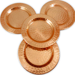 Hammered Pure Copper Coasters Gift Set of 4