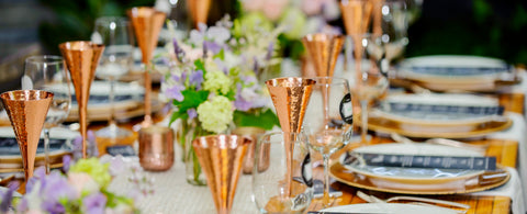 Champagne Hammered Copper Flutes by Kamojo
