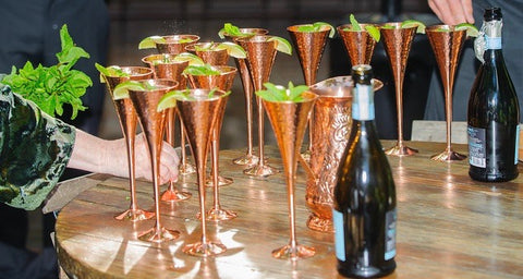 Champagne Copper Flutes Set of 4 - Matching Copper Coasters