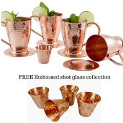 Hammered Copper Mugs with coasters & Embossed Shot Glass Collection
