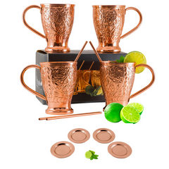 Moscow Mule Copper Mugs Embossed Party Pack of 12