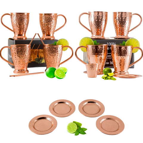 Moscow Mule Copper Mugs Party Pack - Coasters, Straws & Shot Glass.