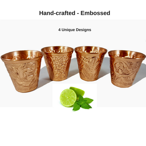 Embossed Copper Bundle - 4 Copper Mugs and Shot Glasses
