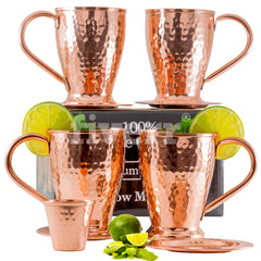 Hammered Moscow Mule Copper Mugs Gift Set of 4