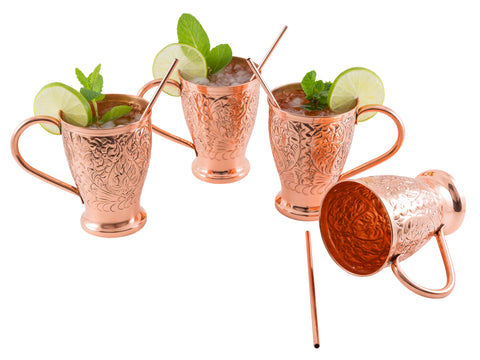 Embossed Exclusive Moscow Mule Copper Mugs Gift Set of 4