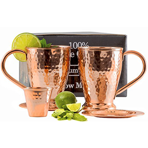 Hammered Moscow Mule Copper Mugs Gift Set of 2
