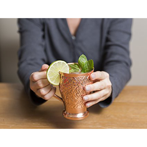 Embossed Exclusive Moscow Mule Copper Mugs Gift Set of 2