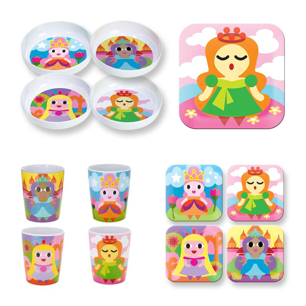 Princess Square Plate Set 4 Assorted