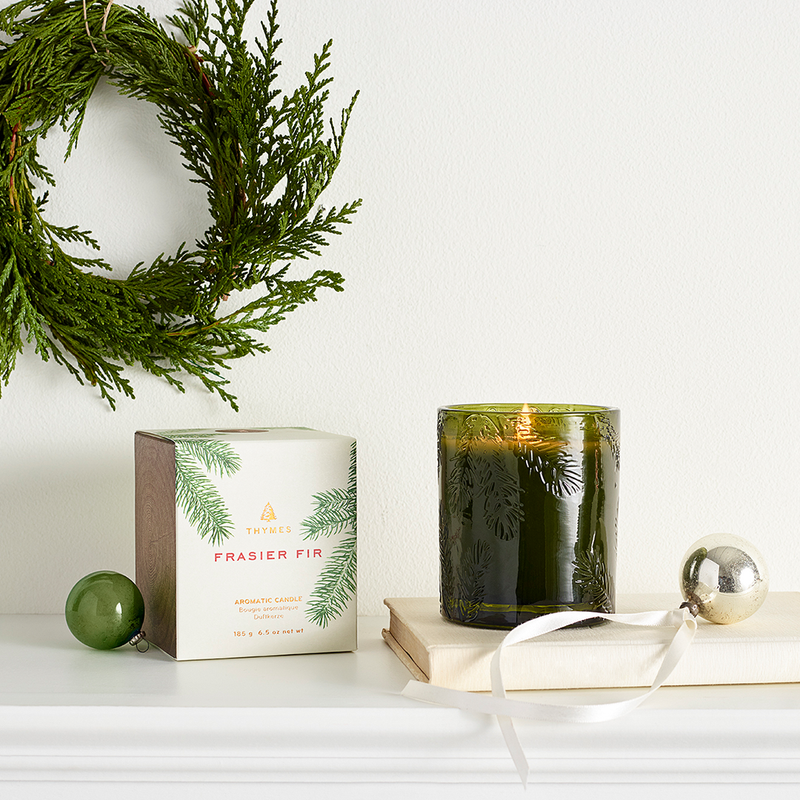 FRASIER FIR PINE MOLDED GREEN GLASS CANDLE