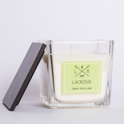 GLASS SCENTED CANDLE GREEN TEA & LIME + 40H