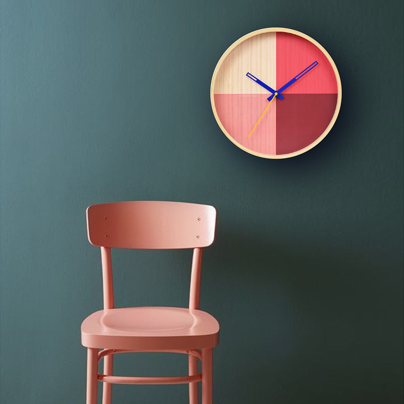 Flor Red Wood Wall clock