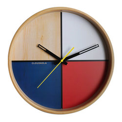 Flor White Wood Wall clock