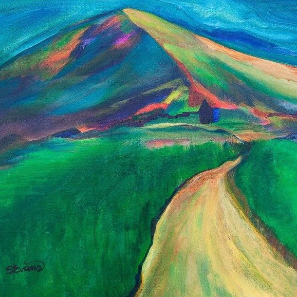 The Path Home Abstract Mountain Painting by Sally Evans
