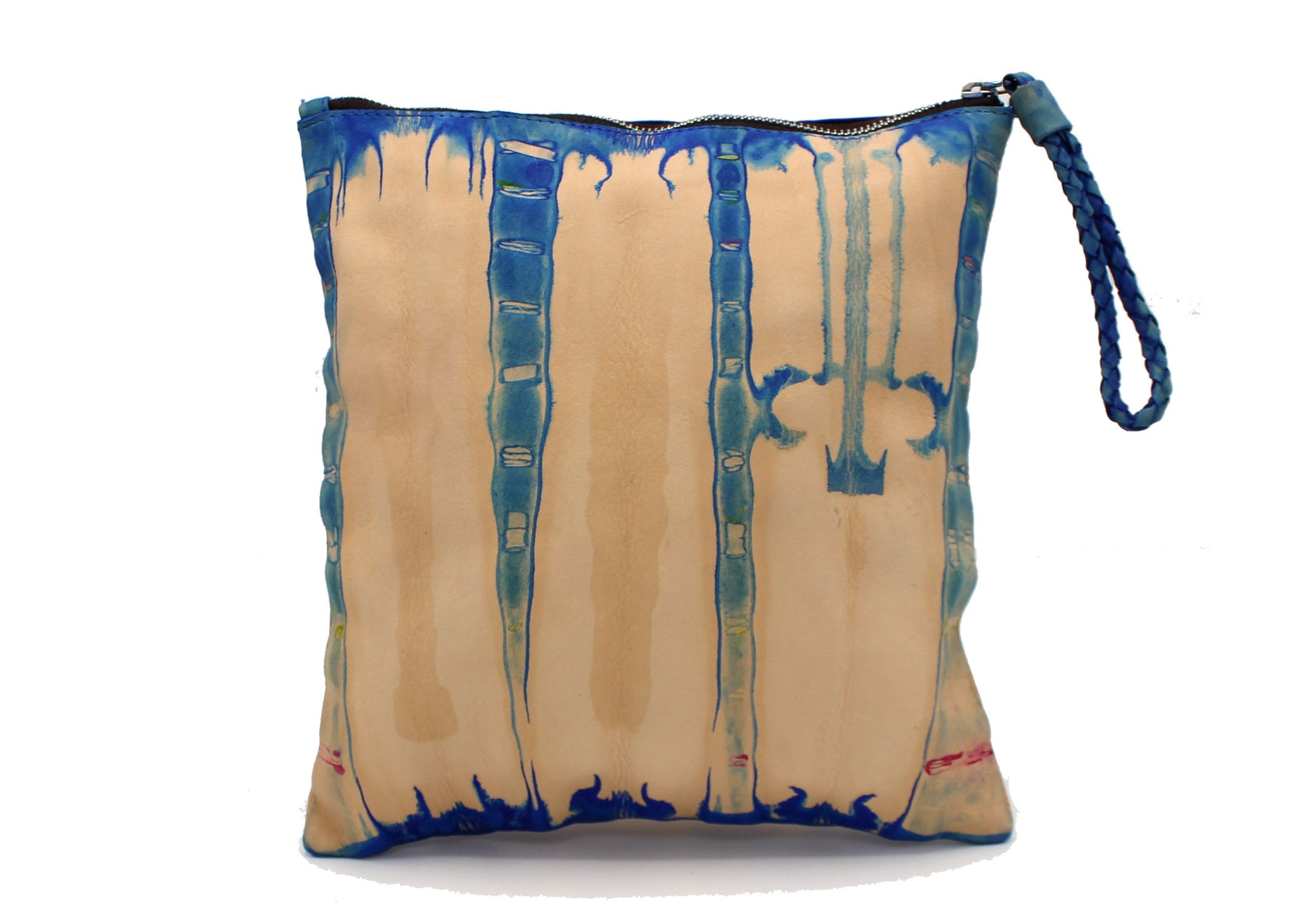 Hand-dyed Shibori Blue Leather Zipper Pouch XL