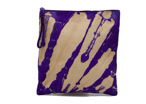 Tie-dyed Purple Leather Zipper Pouch Cosmetic Bag in XL