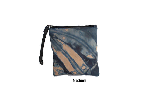 Indigo Dyed Leather Zipper Pouch