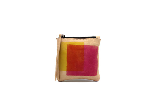 Hand-dyed Yellow and Pink Leather Zipper Pouch