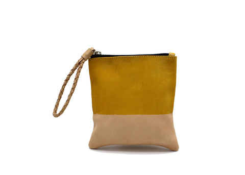 Hand-dyed Yellow and Red Leather Zipper Pouch Cosmetic Bag
