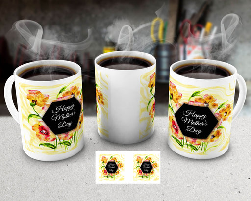 Happy Mother's Day 15oz Coffee Mug with Yellow Flower Pattern, , Personally Yours Accessories