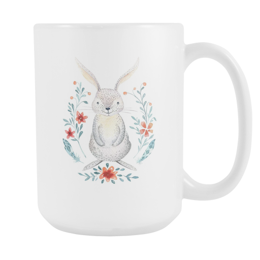 White 15oz Mug - Christmas - Woodstown Bunny, Drinkware, Personally Yours Accessories