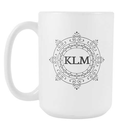 White 15 oz Mug - Monogrammed - Sunshine Wave