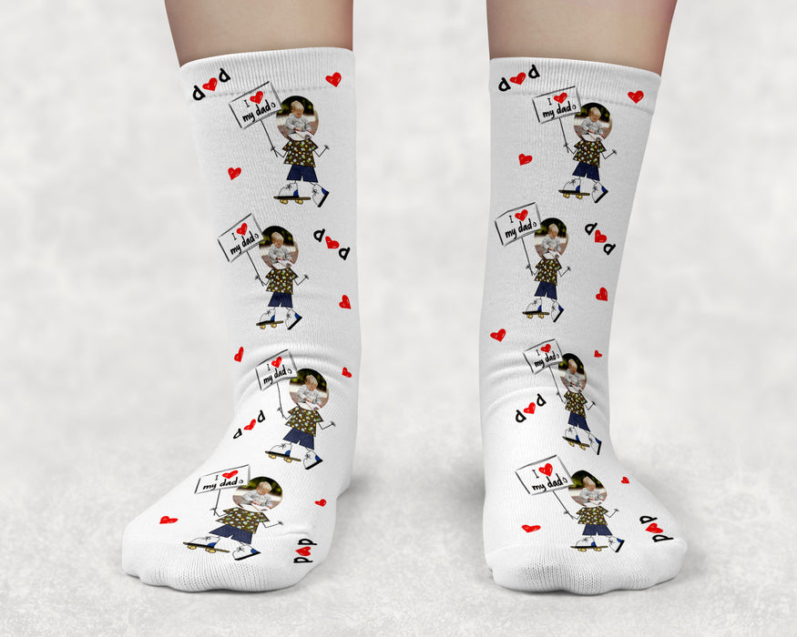 I Love my Dad (Boy) Custom Photo Socks